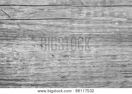 Cracked Wooden Plank With Wood Nerves