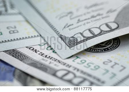 One hundred dollars bills macro