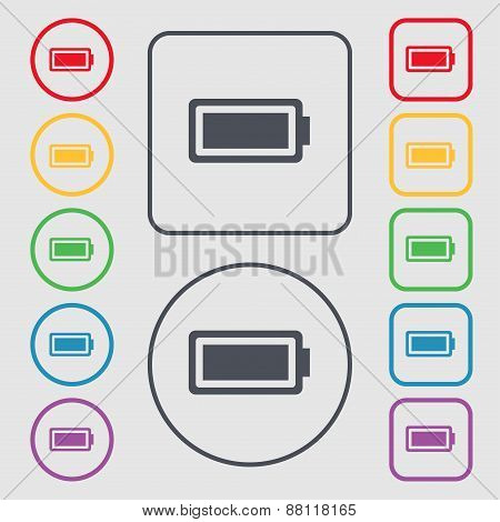 Battery Fully Charged Icon Sign. Symbol On The Round And Square Buttons With Frame. Vector