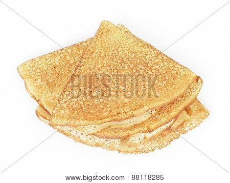 fresh hot blinis or crepes from above isolated on white