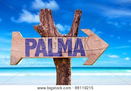 Palma wooden sign with beach background