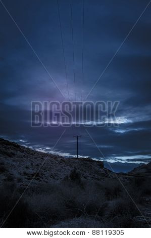 Voltage Electric Pole At Sunset