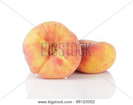 fresh asian flat peaches isolated