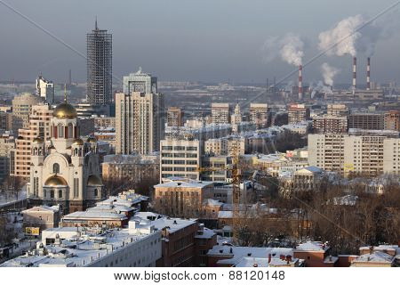 YEKATERINBURG, RUSSIA - JANUARY 5, 2011: Church of All Saints on the Blood (L) in Yekaterinburg, Russia, pictured from the viewing point at the Antei Skyscraper.