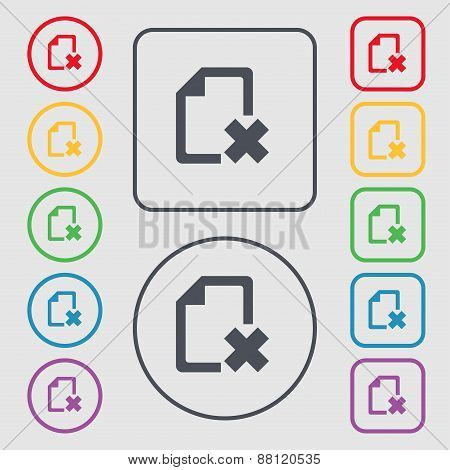 Delete File Document Icon Sign. Symbol On The Round And Square Buttons With Frame. Vector