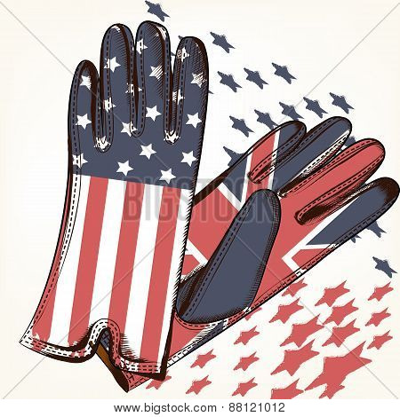 Fashion Background With Female Gloves Decorated By Usa And British Flag
