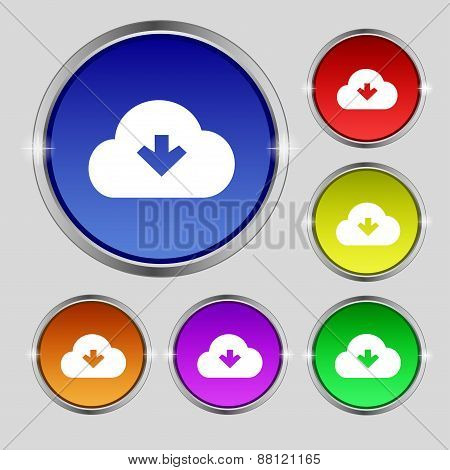 Download From Cloud Icon Sign. Round Symbol On Bright Colourful Buttons. Vector