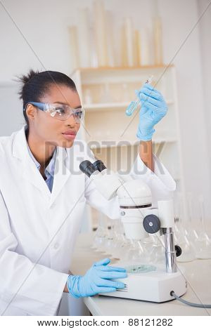 Scientist looking at test tube in laboratory