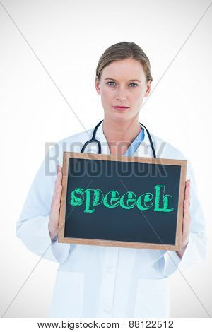 The word speech against doctor showing chalkboard