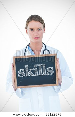 The word skills against doctor showing chalkboard