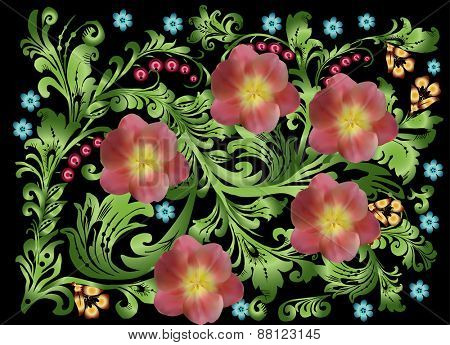 illustration with green ornament on black background