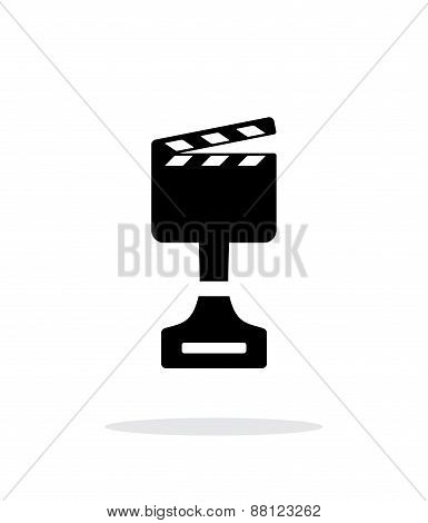 Best movie simple icon on white background.