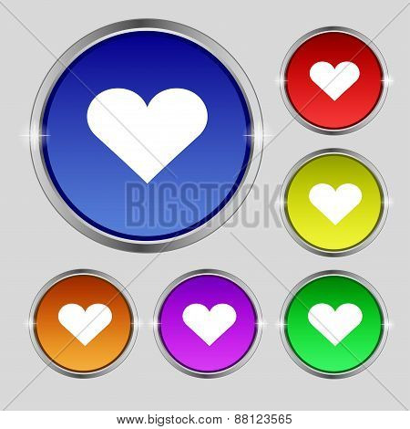 Heart, Love Icon Sign. Round Symbol On Bright Colourful Buttons. Vector