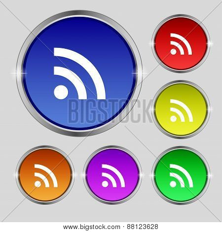 Wifi, Wi-fi, Wireless Network Icon Sign. Round Symbol On Bright Colourful Buttons. Vector