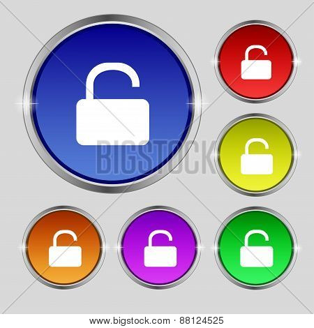 Open Padlock Icon Sign. Round Symbol On Bright Colourful Buttons. Vector