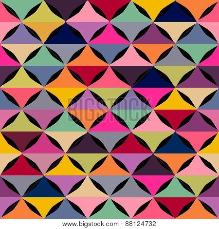 Abstract geometric seamless pattern with multicolored shapes.