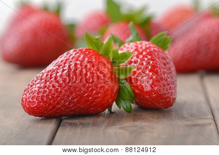 Two Strawberries Closeup