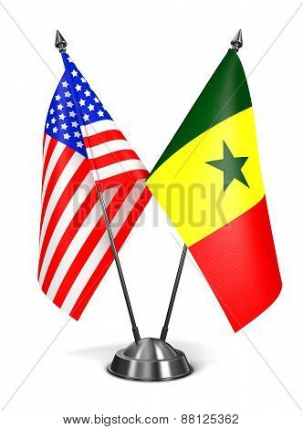 USA and Senegal - Miniature Flags.