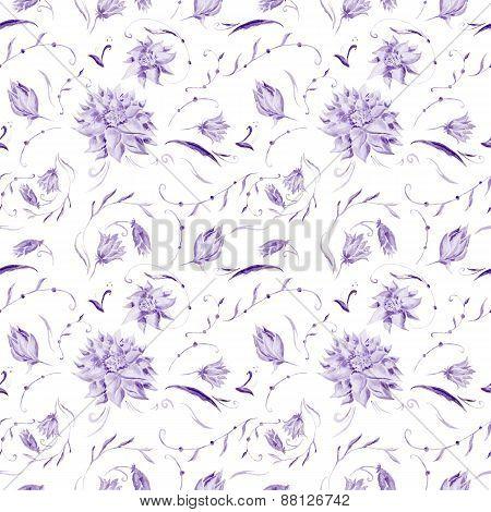 Purple Watercolor Floral Pattern