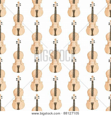 Seamless watercolor pattern with violin on the white background, aquarelle. Vector illustration. Han