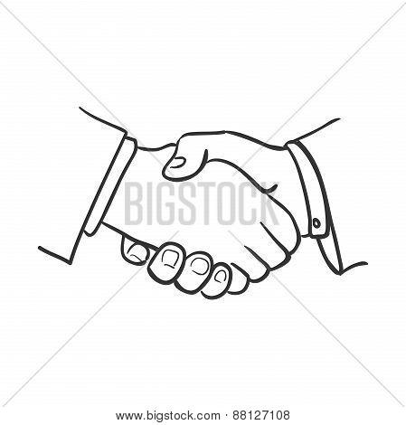 hand draw doodle handshake