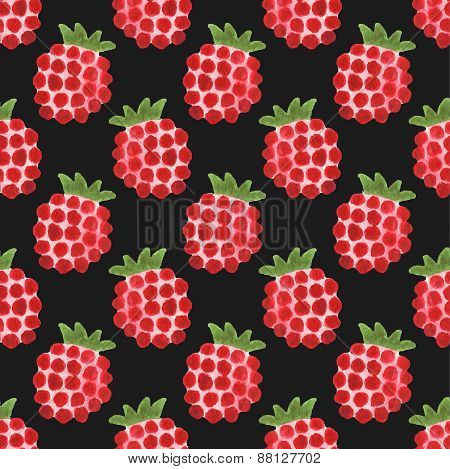 Seamless watercolor pattern with funny raspberries on the black background, aquarelle.  Vector illus
