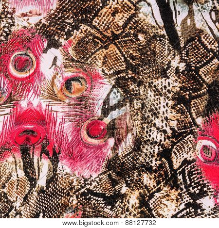 Texture Of Print Fabric Striped Peacock Feather And Snake