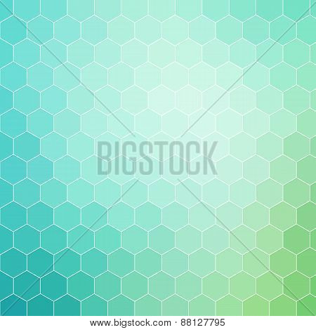 Blue Green Hexagon Pattern Background With White Outline