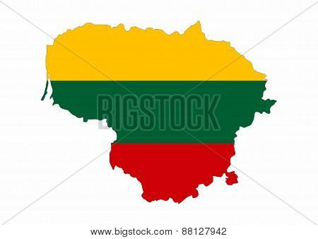 Lithuania Flag Map