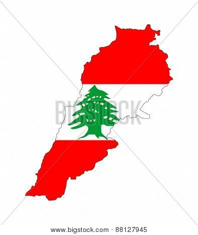 Lebanon Flag Map