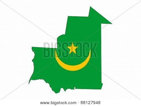 Mauritania Flag Map