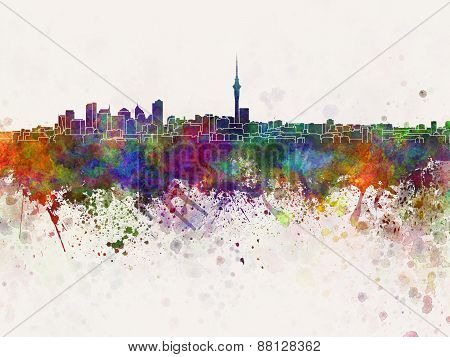 Auckland Skyline In Watercolor Background