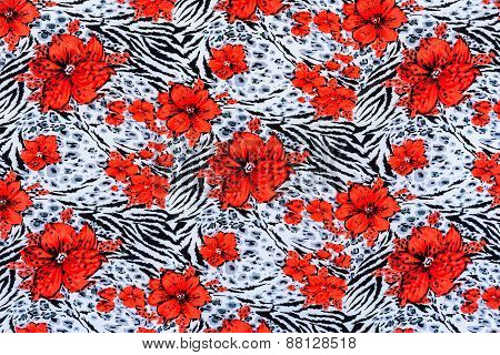 Texture Of Print Fabric Striped Zebra And Flower