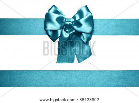 cyan bow and ribbon made from silk