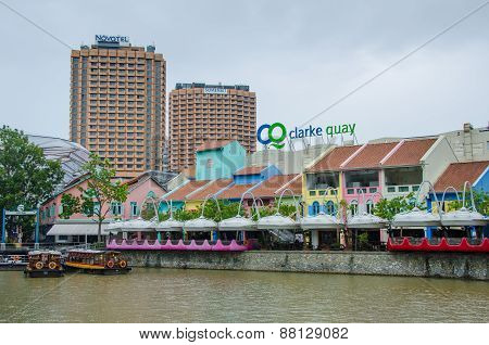 Clarke Quay on the Singapore River is a popular dining and entertainment destination