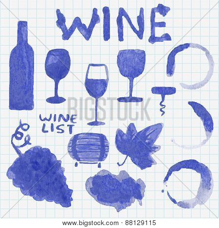 Set of watercolor wine stuff. Decoration and design. Sketch on the copybook sheet. Vector illustrati