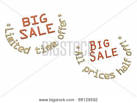 Three-dimensional Inscription Big Sale As A Label