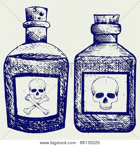 Glass bottles of poison