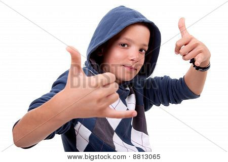 Boy With His Hands Rise Up As A Sign Of Everything Cool, Isolated On White Background