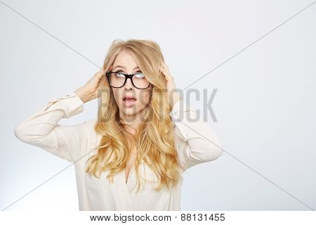 girl with nerd glasses. isolated on white.