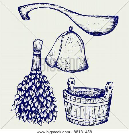Sauna ready accessories - broom, bucket, hat and scoop