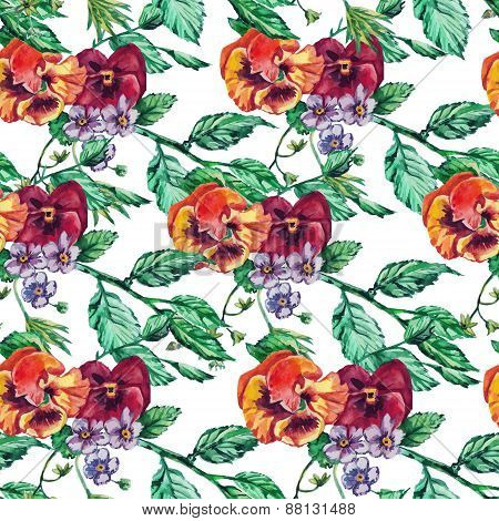 Vintage Seamless pattern watercolor pansy flowers.