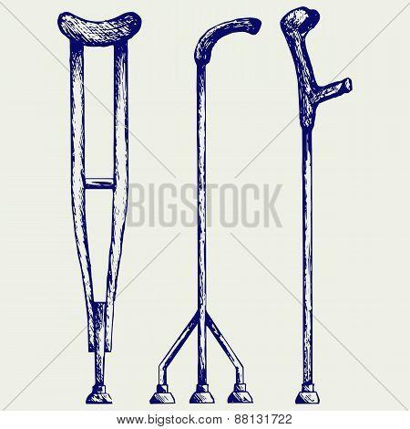Set crutches