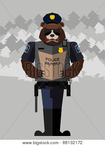 Bear police officer.Vector illustration