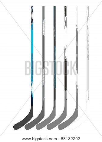 Set of hockey sticks. Vector illustration