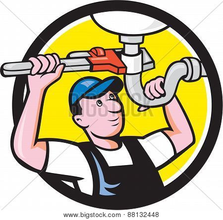 Plumber Repair Sink Pipe Wrench Circle Cartoon