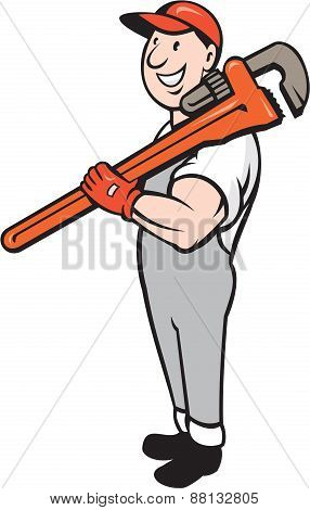 Plumber Smiling Holding Monkey Wrench Isolated