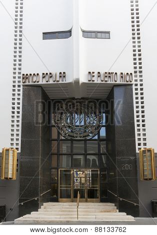 Entrance To Headquarters Banco Popular Of Puerto Rico.