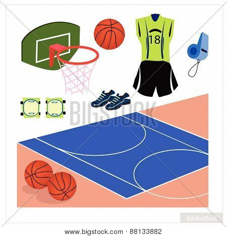 Set Of Basketball Equipment On White Background