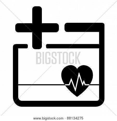medicine icon with heart and cross